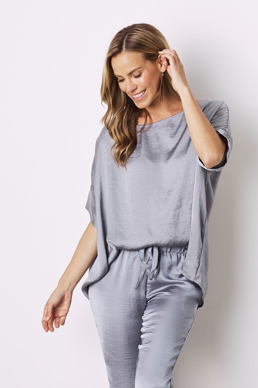 Bianca Short Sleeve Top Grey