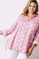 Holly Long Sleeve Collared Polka Dot Shirt Blush