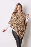 Cashmere and Wool Poncho Camel and Black Leopard Print