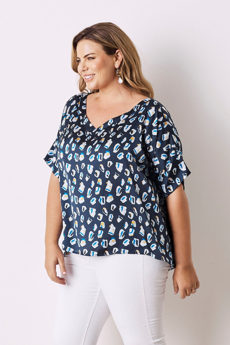 Bree Short Sleeve Top Navy With V Neck