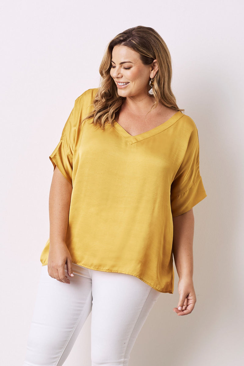 Bianca Short Sleeve Top Mustard with V Neck