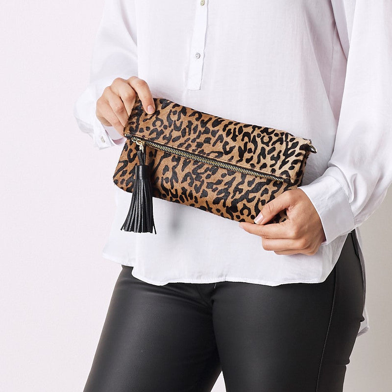 Carolina Cowhide Clutch Leopard Cowhide