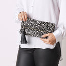 Carolina Cowhide Clutch Black with White Spots