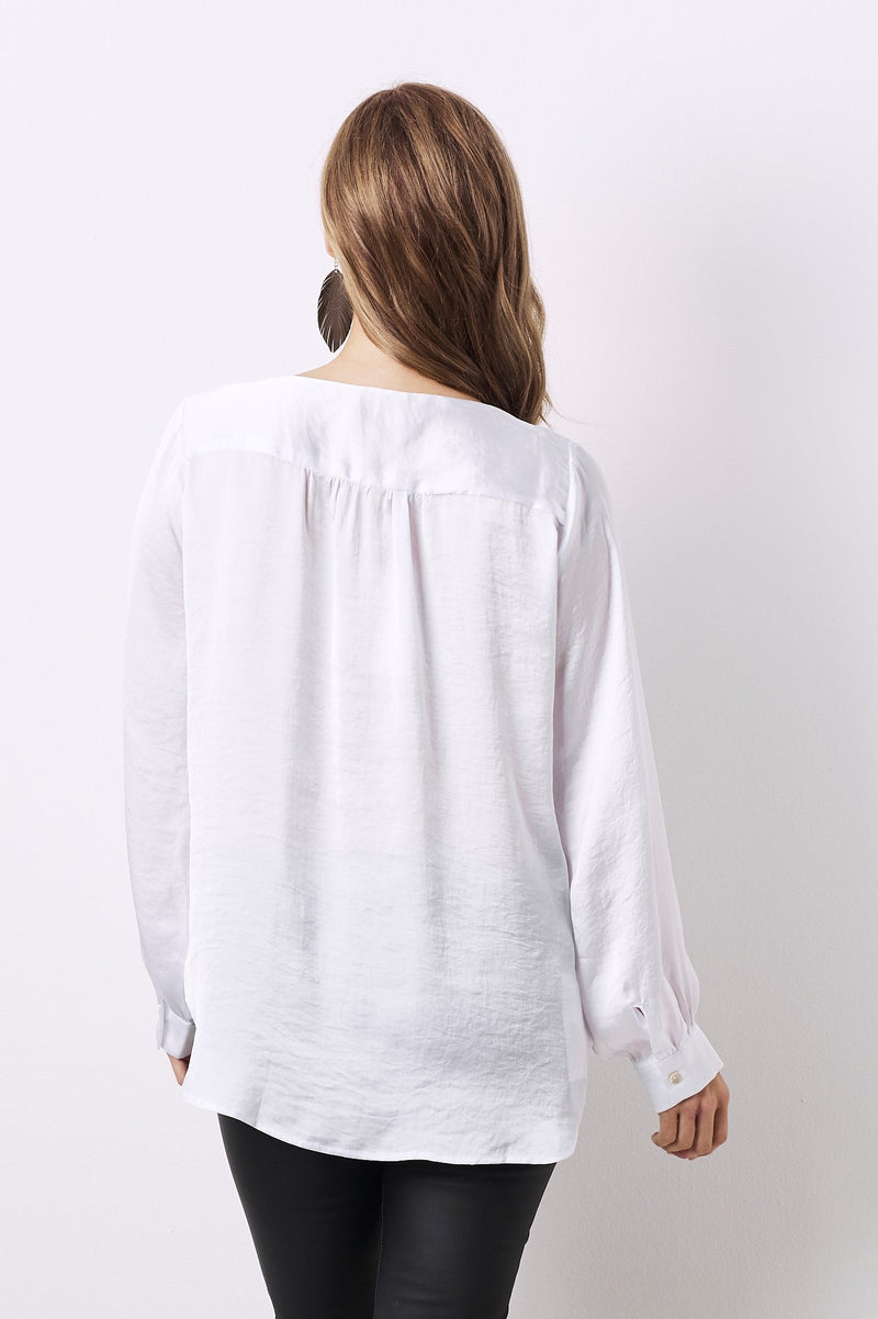 Avignon Long Sleeve Top White