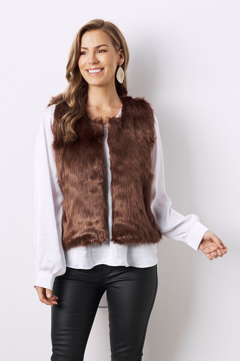 Angie Faux Fur Vest Chocolate