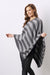 Cashmere and Wool Poncho Charcoal and Grey stripes