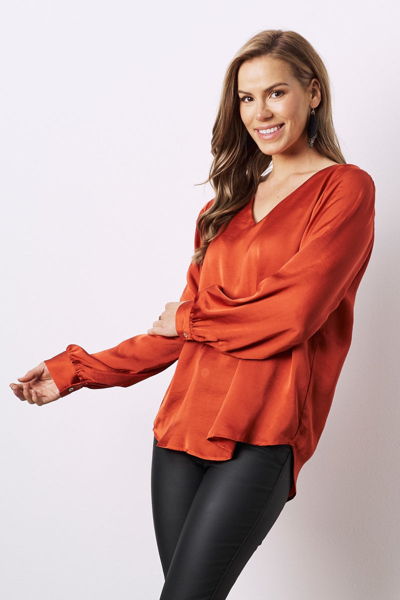 Avignon Long Sleeve Top Burnt Orange