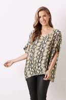 Python Short Sleeve Top with V neck