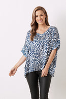 Bianca Short Sleeve Top Kitty Print Navy V Neck