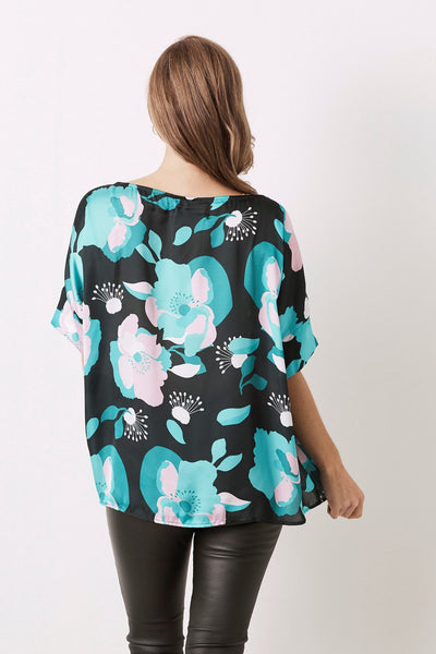 Bianca Short Sleeve Top Majorca Print With V Neck