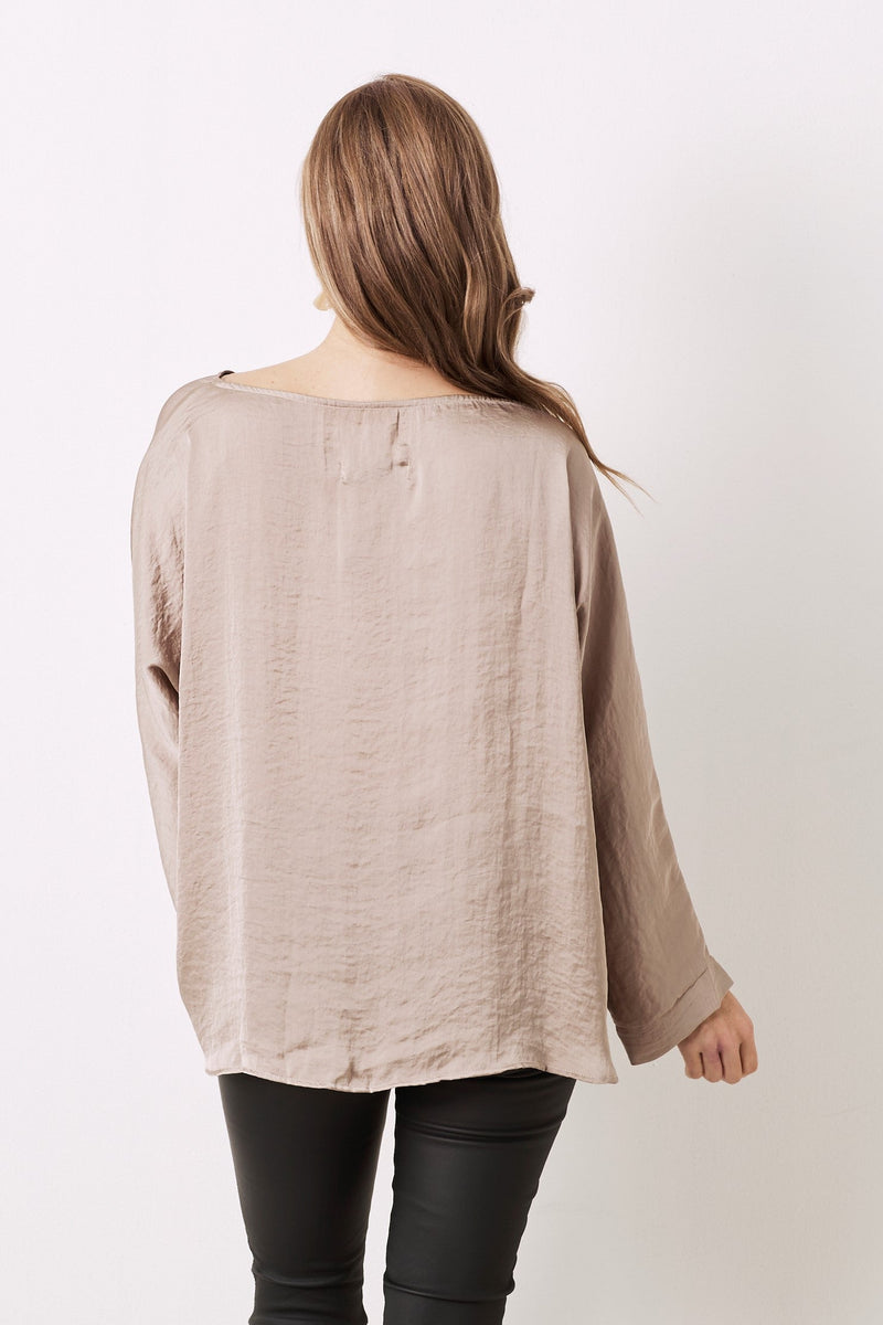 Martina Long Sleeve Top Almond