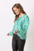Avignon Long Sleeve Top Kitty Print Emerald