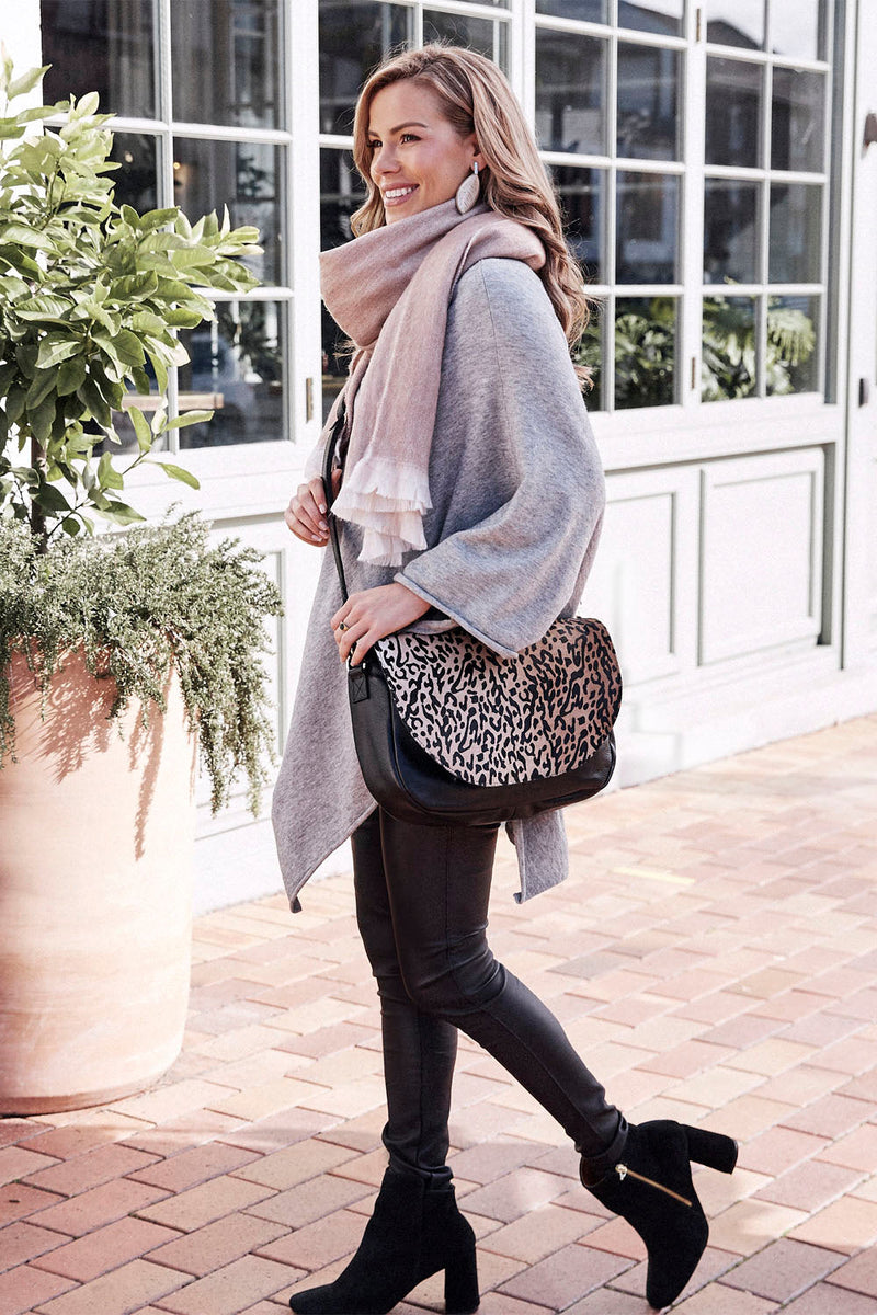 Mischa Leather Handbag Leopard Cowhide