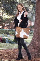Nora Leather Handbag Tan and White Cowhide-Pre-Order