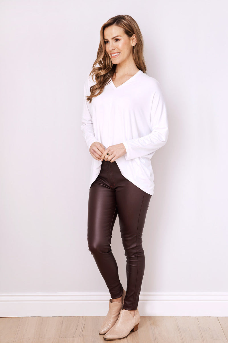 Amber Coated Jeans Burgundy