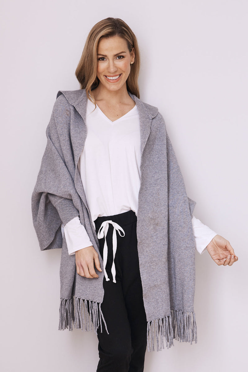 Aranza Cozy Wrap Jacket Grey