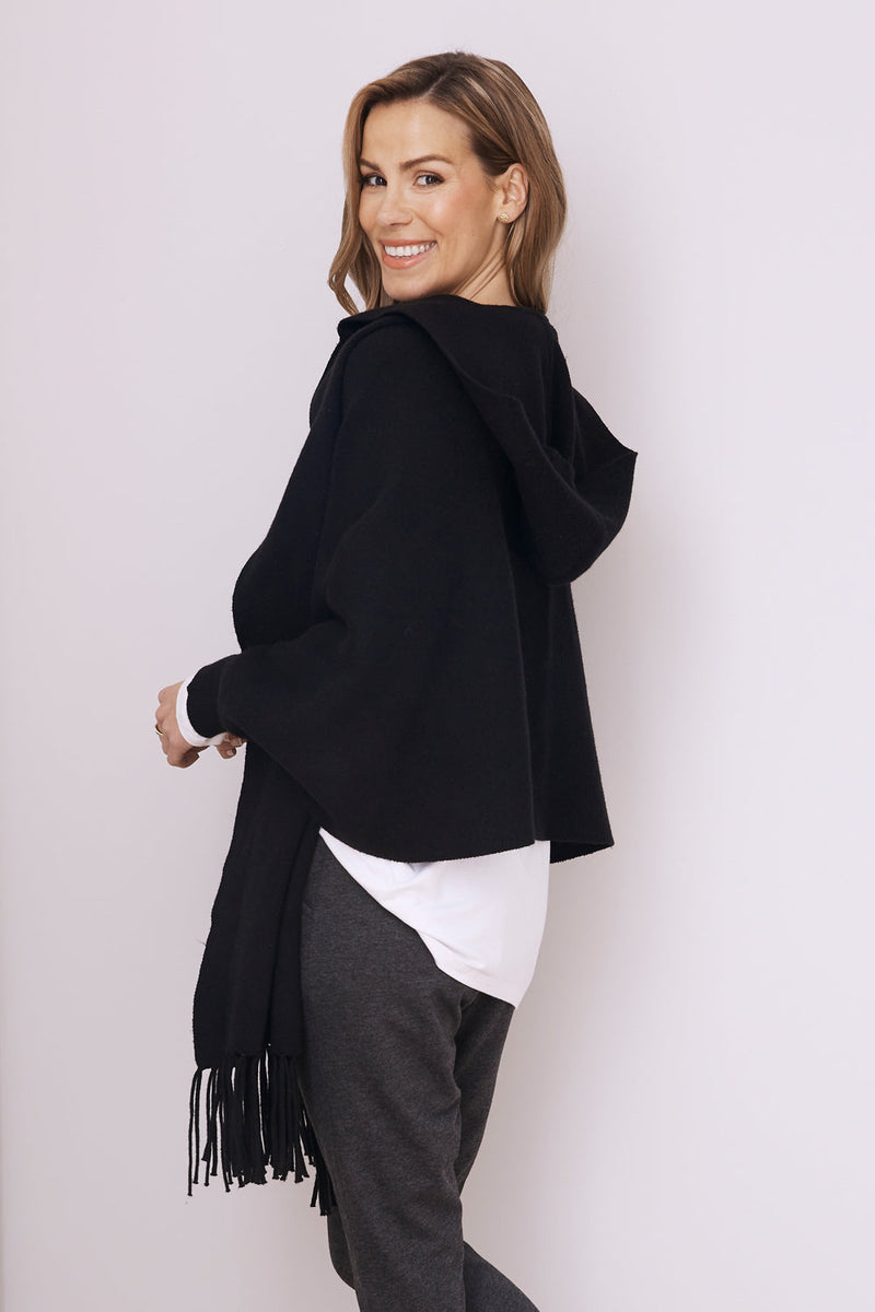Aranza Cozy Wrap Jacket Black