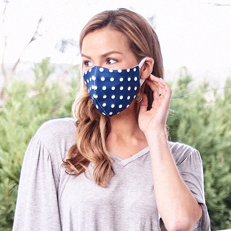 Face Mask Spotted Navy
