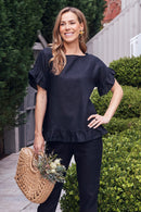 Raphaela Ruffle Linen Top in Black