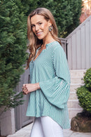 Comino Long Sleeve Top Striped Emerald