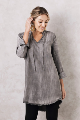 Frida denim dress in Grey