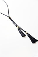 Double Tassel Leather Necklace Navy Metallic