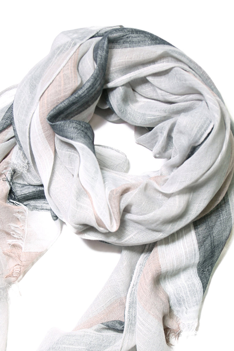 Elianna Relaxed Scarf in Grey Stripes