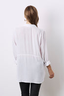 Ella Long Sleeve Collared Shirt White