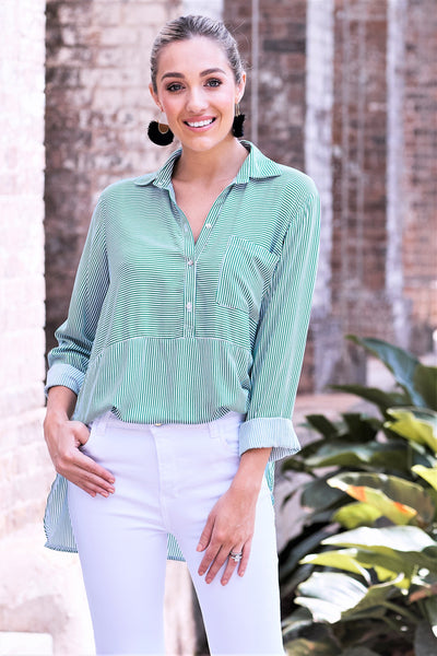 Ella Long Sleeve Collared Shirt Striped Emerald