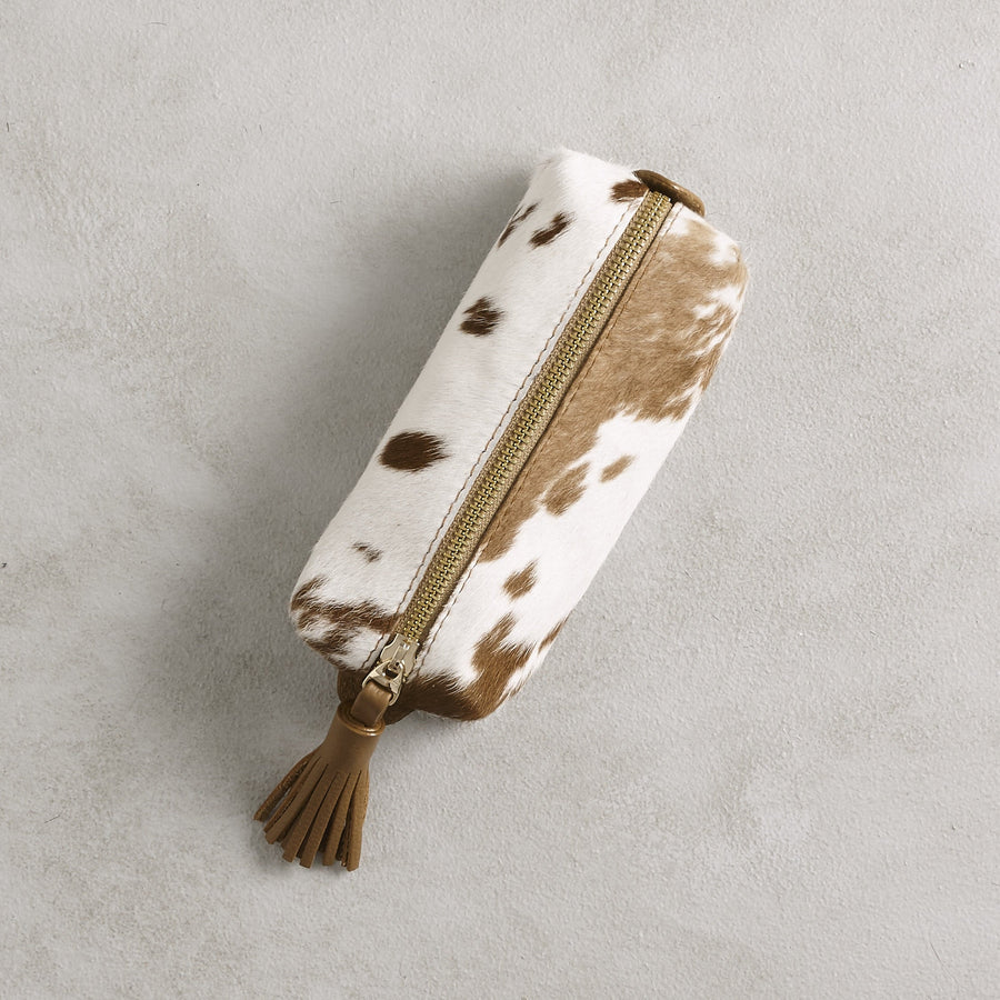 Make up Bag Tan and White Cowhide
