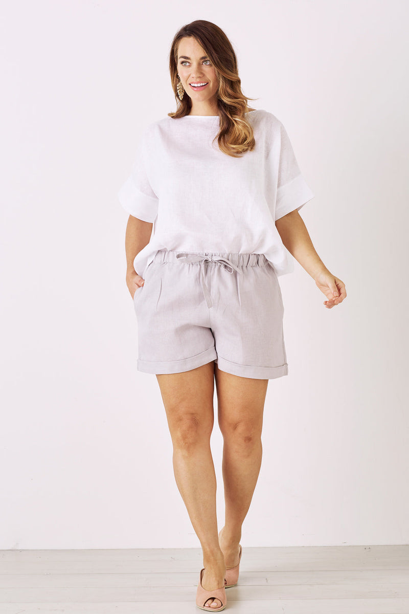 Amalfi Pure Linen Shorts Grey