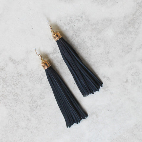 Leather Tasseled Drop Earrings in Navy