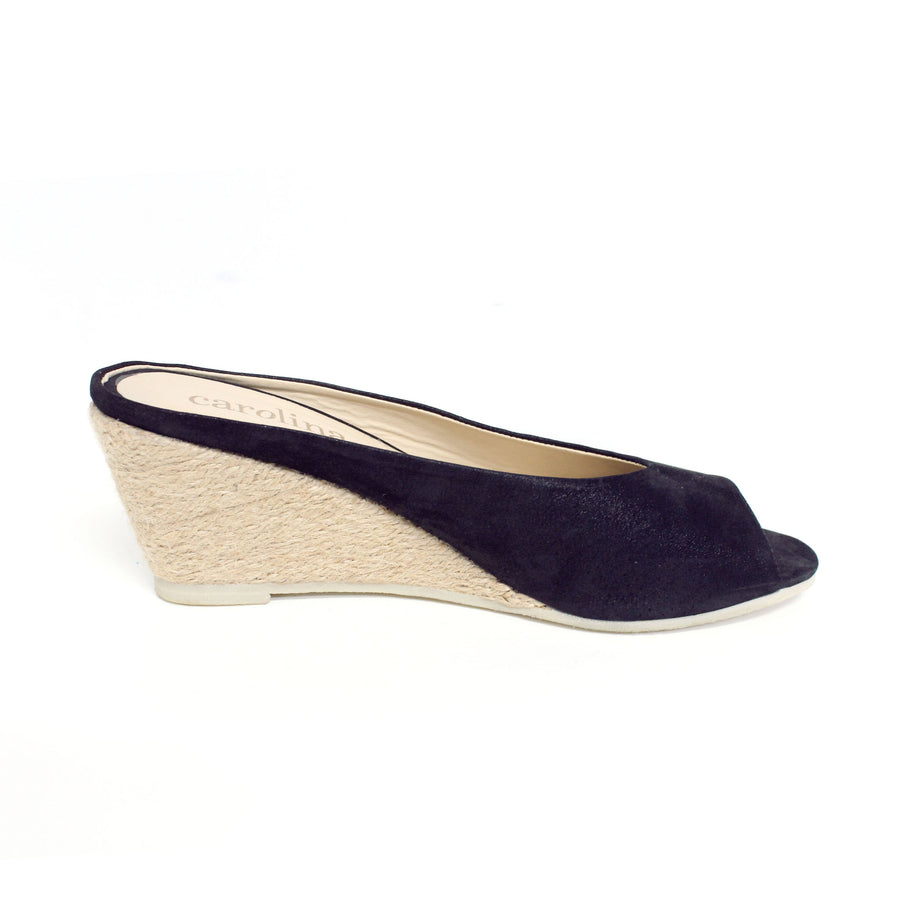 Ivanna Leather Espadrille Wedges Navy Metallic