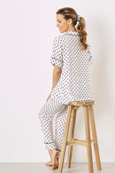 Paula Polka Dots Short Sleeve Pyjama Set Black