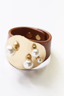 Pearl Cuff Tan Leather
