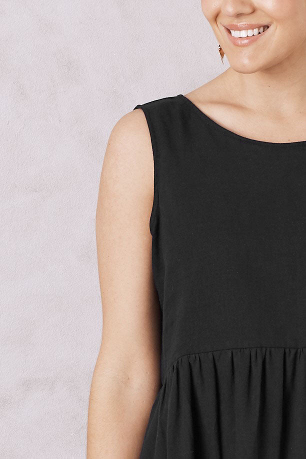 Perissa Dress Black Cotton Linen