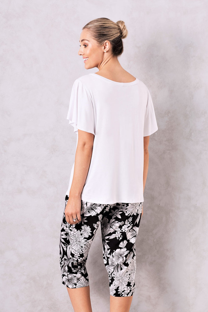 Floral Short Sleeve Pyjama Set in Black