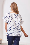 Raphaela Ruffle Pure Cotton Top in  Navy Spots