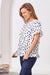 Raphaela Ruffle Pure Cotton Top inNavy Spots