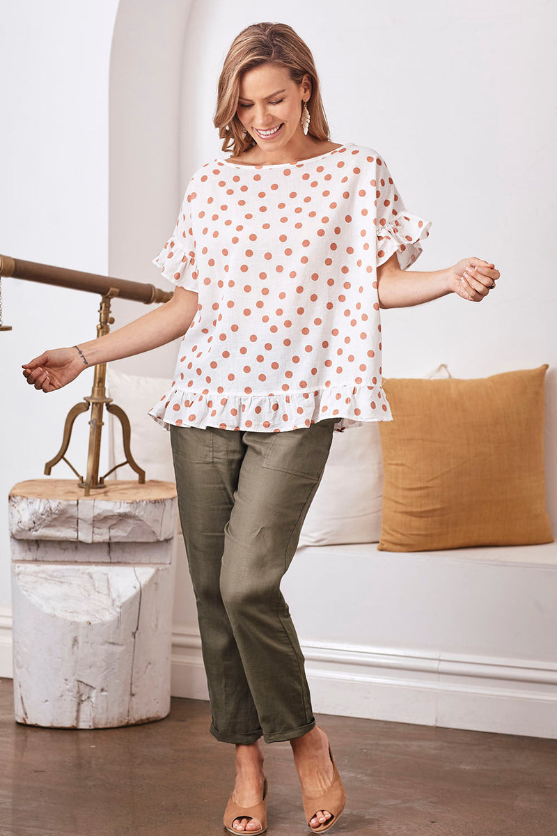Raphaela Ruffle Pure Cotton Top in Blush Spots