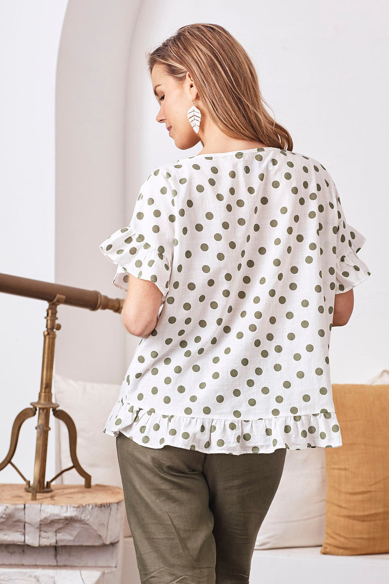 Raphaela Ruffle Pure Cotton Top in Olive Spots