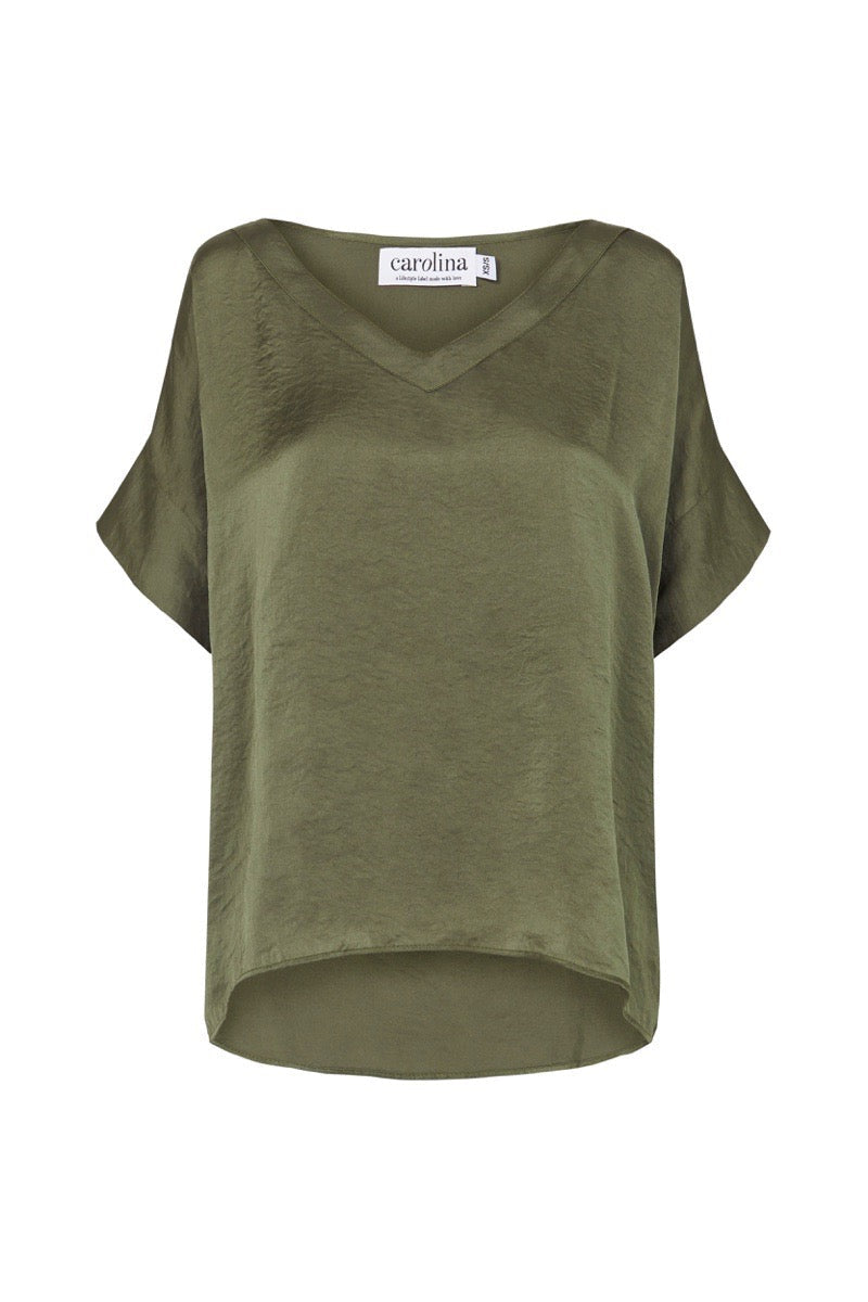 Bianca Top Olive Green with V Neck