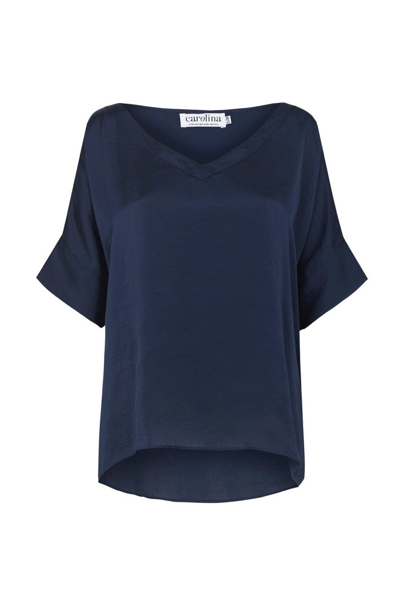 Bianca Short Sleeve Top Navy with V Neck