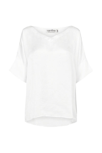 Bianca Short Sleeve Top White with V Neck