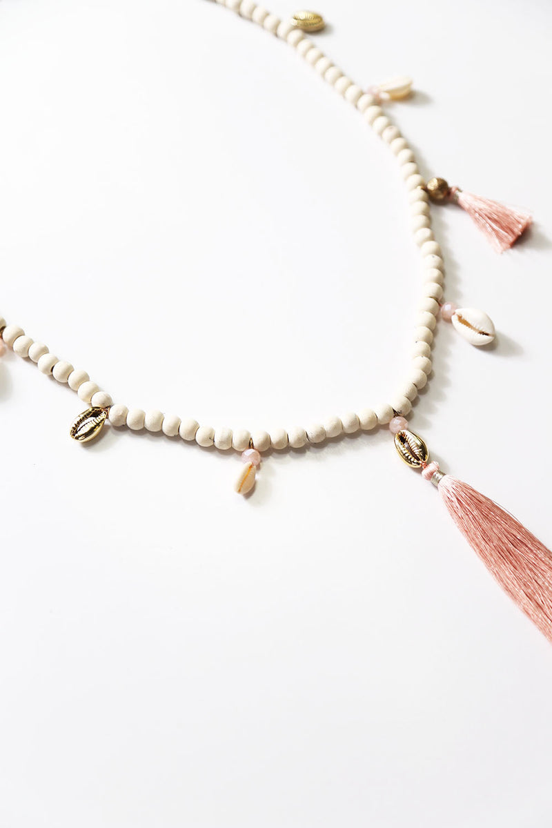 Shell Tassel Necklace Blush