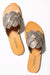 Stella Woven Leather Slide - Light Gold