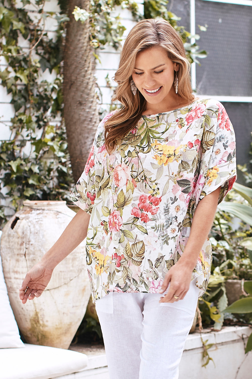 Summer Flowers Pure Italian Linen Top
