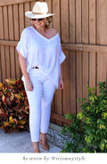 Bianca Top White with V Neck