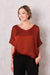Bianca Top Burnt Orange with V Neck