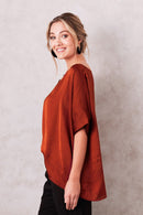 Bianca Short Sleeve Top Burnt Orange
